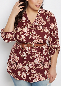 Plus Rosy Belted Tunic Blouse