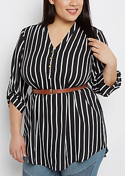 Plus Striped Belted Tunic Blouse