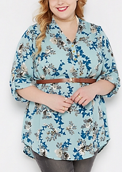 Plus Blue Rose Belted Tunic Blouse