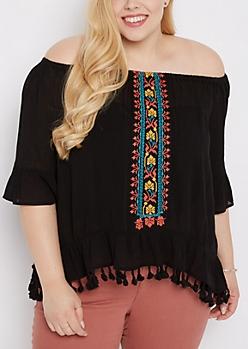 Plus Black Southwest Tassel Off-Shoulder Top