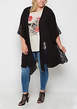 Plus Black Eyelash Lace Gauze Kimono
