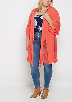 Plus Coral Eyelash Lace Gauze Kimono