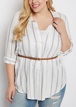 Plus Striped Belted Tunic Button Down