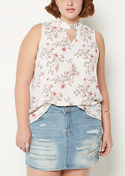 Plus Floral Cutout Tank Top