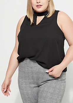 Plus Sleeveless Cutout Blouse