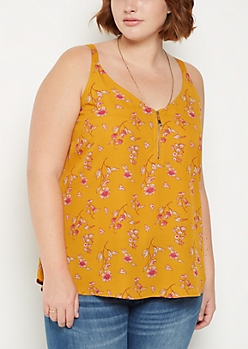 Plus Floral Zip Chiffon Tank Top