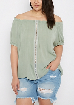 Plus Pale Green Crochet Inset Off Shoulder Top