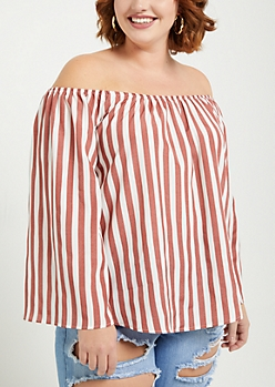 Plus Pink Striped Bell Sleeve Off Shoulder Top