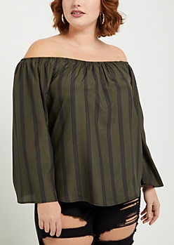 Plus Olive Striped Bell Sleeve Off Shoulder Top