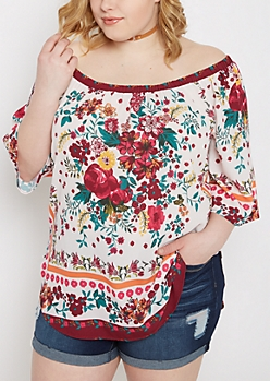 Plus Ivory Wildflower Off-Shoulder Blouse