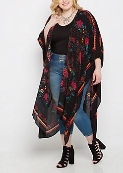 Plus Black Wildflower Split Seam Kimono