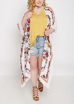 Plus White Wildflower Split Seam Kimono
