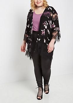 Plus Rosy Lace Chiffon Kimono