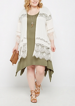 Plus Ivory Lace Chiffon Kimono