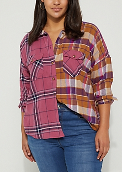Plus Pink Tonal Flannel Shirt
