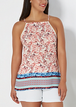 Plus Floral Border High Neck Tank Top
