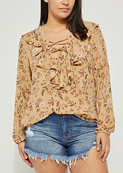 Plus Mustard Floral Ruffled Blouse