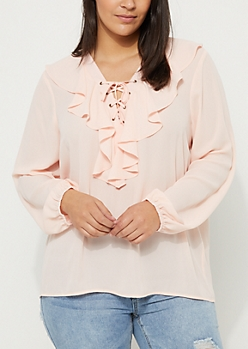 Plus Pink Ruffled Blouse