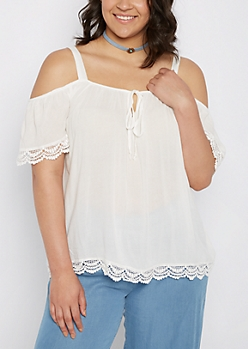 Plus White Crepe Cold Shoulder Top