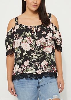 Plus Black Floral Cold Shoulder Blouse