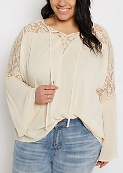 Plus Cream Lace Bell Sleeve Peasant Top
