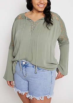 Plus Olive Lace Bell Sleeve Peasant Top