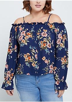 Plus Navy Floral Buttoned Cold Shoulder Blouse