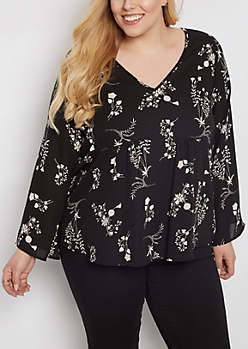 Plus Black Wildflower Chiffon Babydoll Blouse