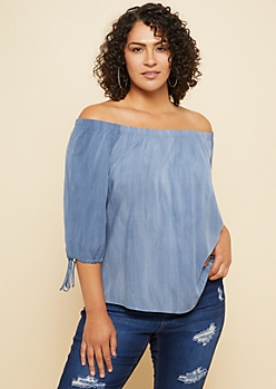 6c43a02bc9904 RUE21. PLUS WASHED PINK ELBOW SLEEVE OFF SHOULDER TOP