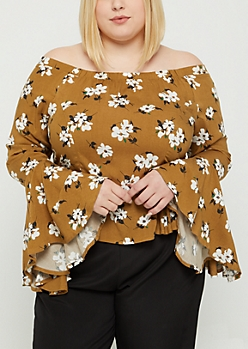 Plus Wildflower Ruffled Off Shoulder Top