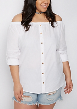 Plus White Off-Shoulder Top