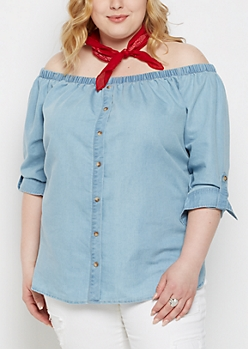 Plus Chambray Off-Shoulder Top