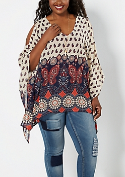Plus Ivory Border Cold Shoulder Poncho