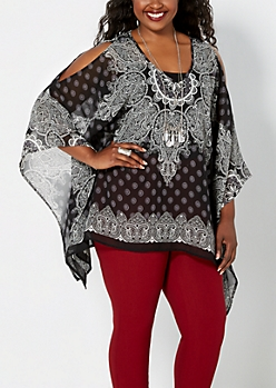 Plus Black Border Cold Shoulder Poncho