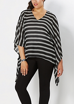 Plus Chiffon Striped Sharkbite Poncho