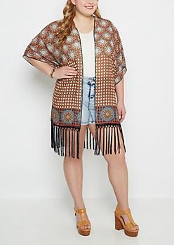 Plus Border Medallion Fringed Kimono