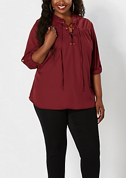Plus Burgundy Chiffon Popover Top