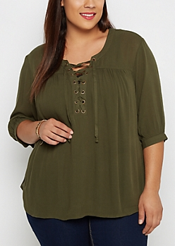 Plus Olive Crepe Lace-Up Blouse