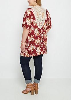 Plus Burgundy Rosy Crochet Back Kimono