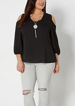 Plus Pendant Necklace & Cold Shoulder Blouse Set