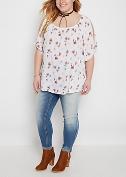 Plus Floral Knotted Cold Shoulder Top