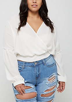 Plus Ivory Surplice Crop Top