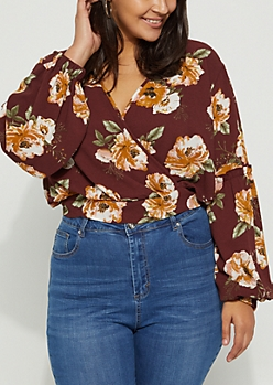 Plus Burgundy Surplice Crop Top