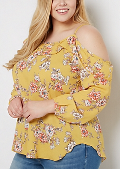 Plus Floral Cold Shoulder Flounce Top