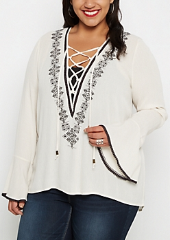Plus Ivory Folklore Lace-Up Peasant Top