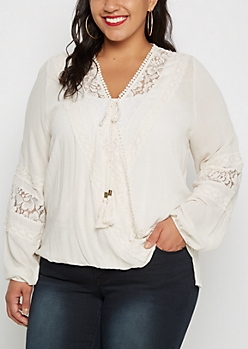 Plus Folklore Crochet Surplice Top