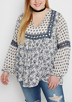 Plus Boho Floral Peasant Top by Clover + Scout