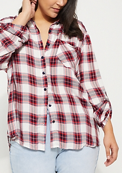 Plus Red & White Plaid Lace Top