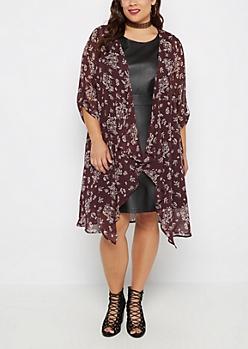 Plus Wildflower Cascading Kimono
