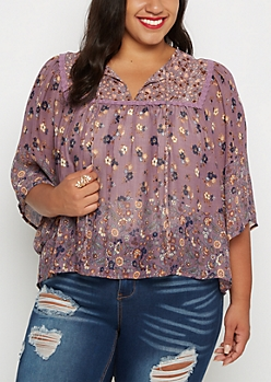 Plus Floral Boho Peasant Top